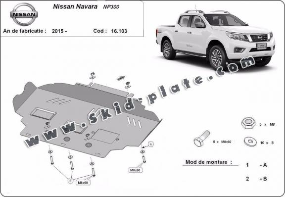 Steel skid plate for Nissan Navara NP300