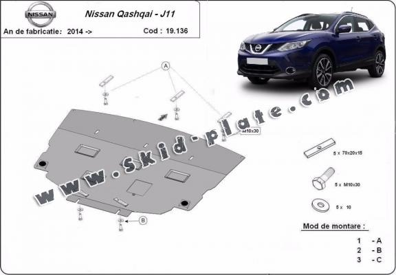 Steel skid plate for Nissan Qashqai J11