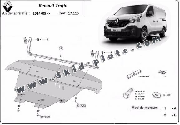 Steel skid plate for Renault Trafic