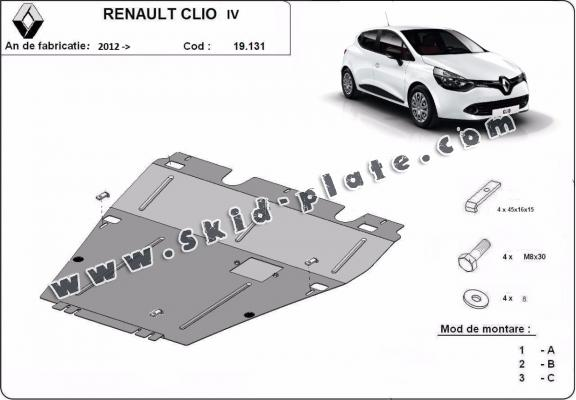 Steel skid plate for the protection of the engine and the gearbox for Renault Clio 4