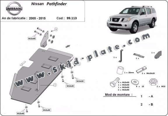 Steel fuel tank skid plate  for Nissan Pathfinder D40