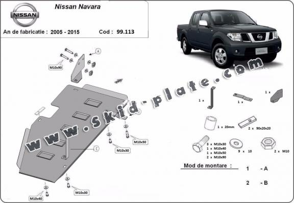 Steel fuel tank skid plate  for Nissan Navara D40