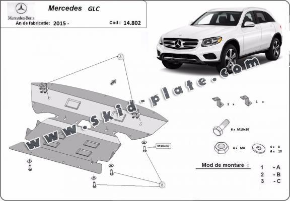 Steel skid plate for Mercedes GLC X253