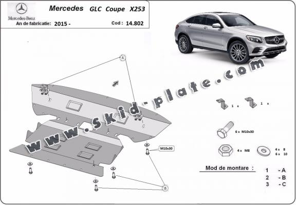 Steel skid plate for Mercedes GLC Coupe X253
