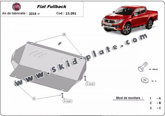 Steel radiator skid plate for Fiat Fullback