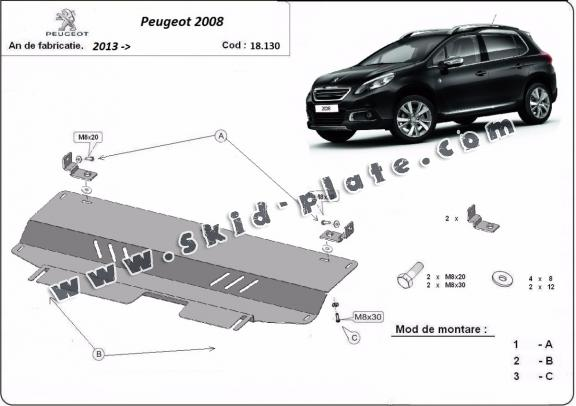 Steel skid plate for Peugeot 2008