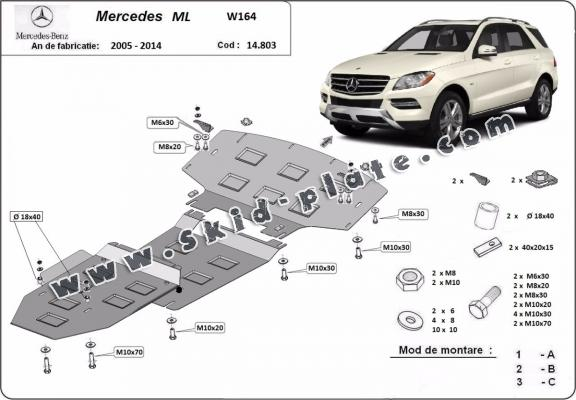 Steel skid plate for Mercedes ML W164