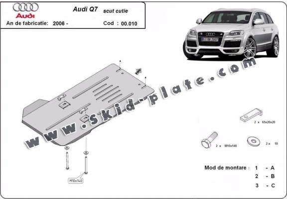 Steel gearbox skid plate for Audi Q7