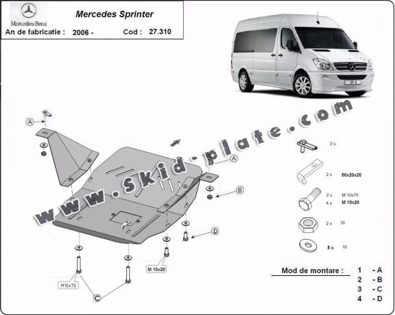 Steel skid plate for the protection of the engine and the gearbox for Mercedes Sprinter