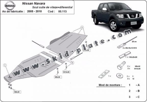 Steel gearbox and differential skid plate for Nissan Navara