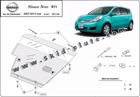 Steel skid plate for Nissan Note