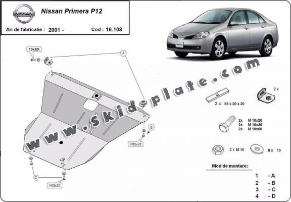 Steel skid plate for Nissan Primera P12