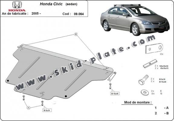 Steel skid plate for Honda Civic (berlin)
