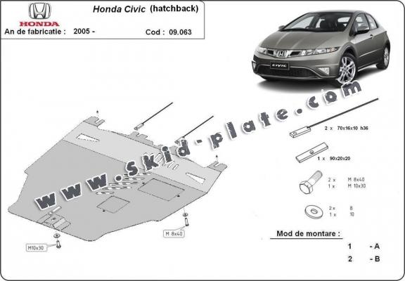 Steel skid plate for Honda Civic (hayon)