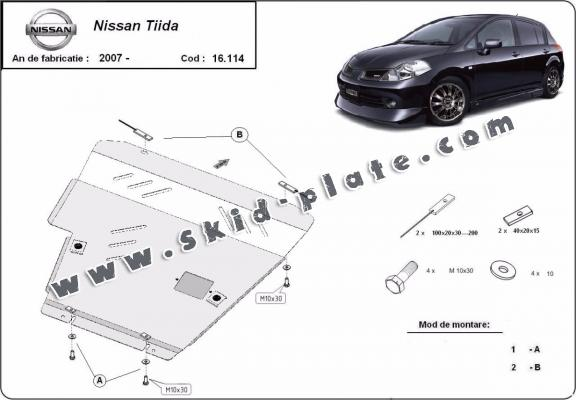 Steel skid plate for Nissan Tiida