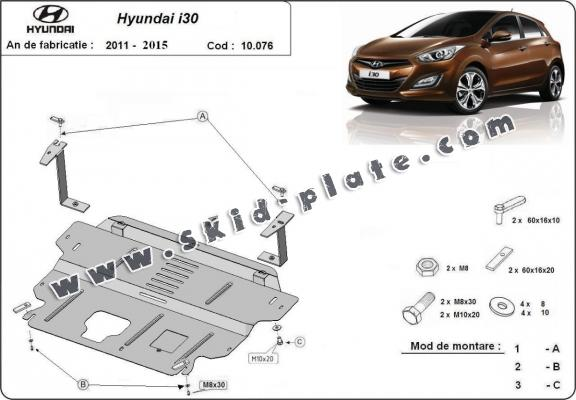 Steel skid plate for Hyundai i30