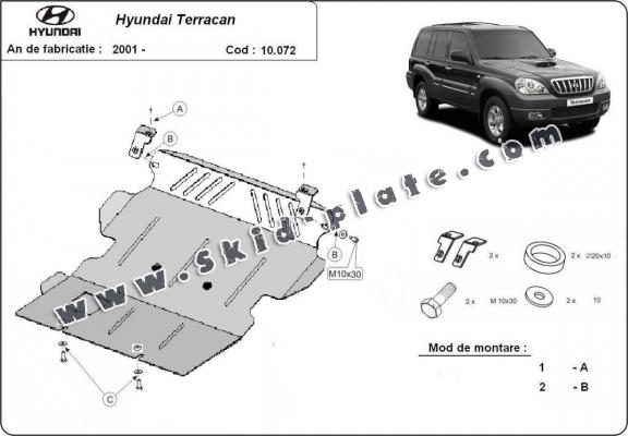 Steel skid plate for Hyundai Terracan