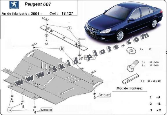 Steel skid plate for Peugeot 607