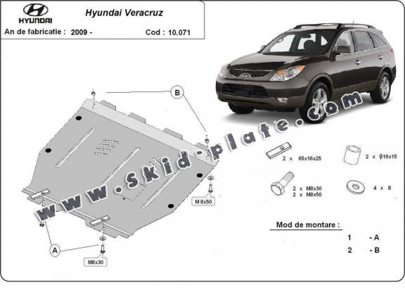 Steel skid plate for Hyundai Veracruz