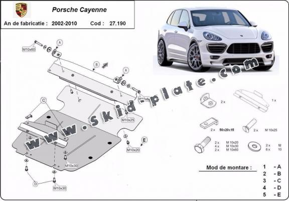 Steel skid plate for Porsche Cayenne