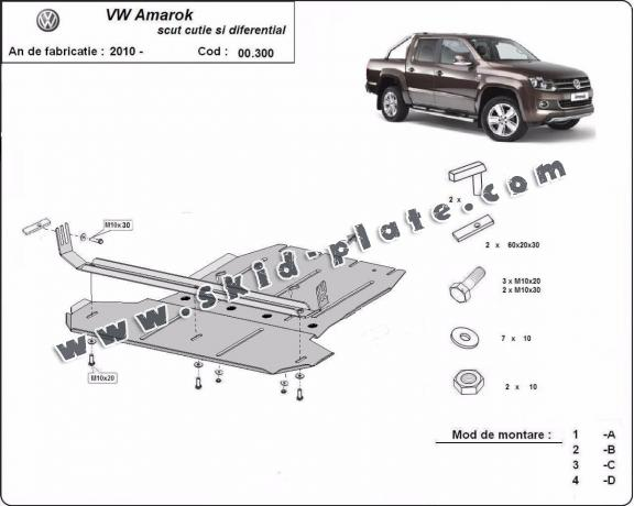 Steel gearbox and differential skid plate for Volkswagen Amarok