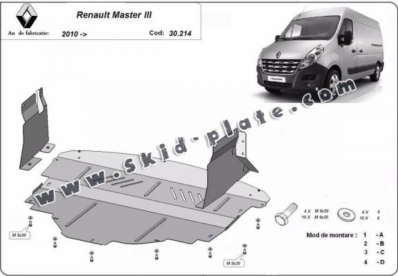 Steel skid plate for Renault Master 3