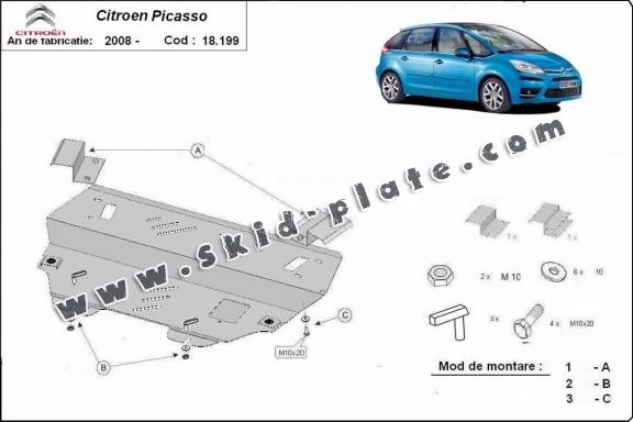 Steel skid plate for Citroen C4 Picasso