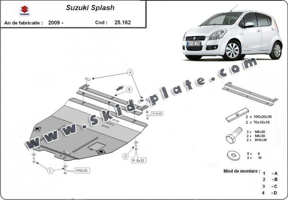 Steel skid plate for Suzuki Splash an