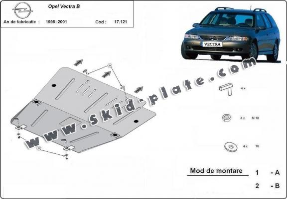 Steel skid plate for Opel Vectra B