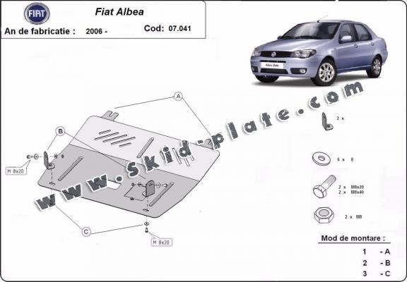 Steel skid plate for Fiat Albea