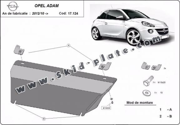 Steel skid plate for Opel Adam