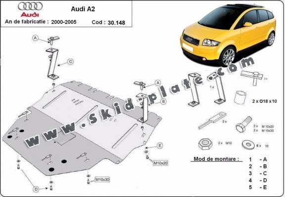 Steel skid plate for Audi A2