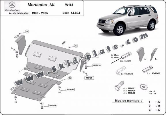 Steel skid plate for Mercedes ML W163