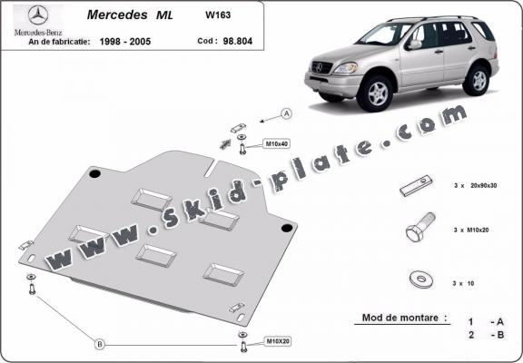 Steel diferential skid plate for Mercedes ML W163