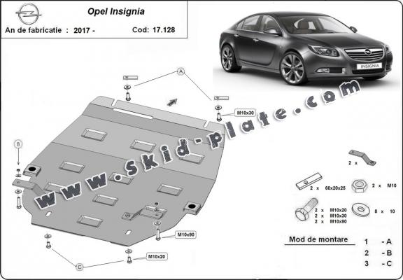 Steel skid plate for Opel Insignia B