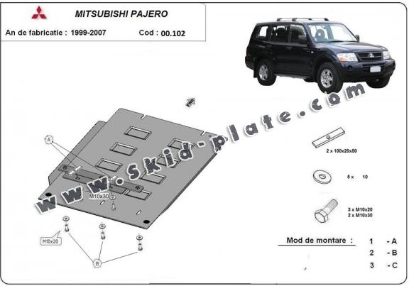 Steel gearbox skid plate for Mitsubishi Pajero 3 (V60, V70)