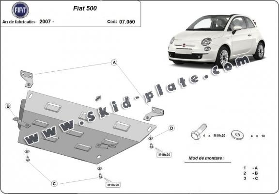 Steel skid plate for Fiat 500
