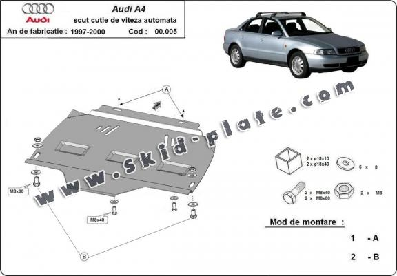 Steel automatic gearbox skid plate for Audi A4  B5