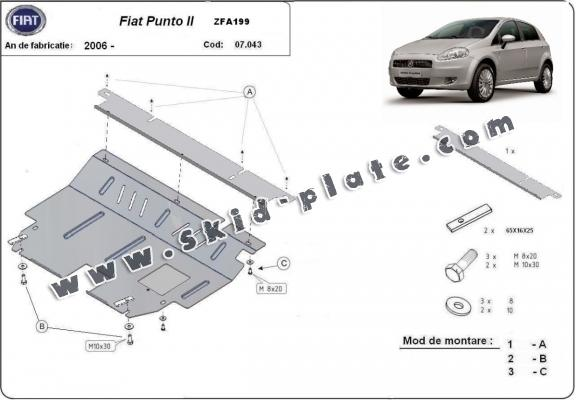 Steel skid plate for Fiat Punto