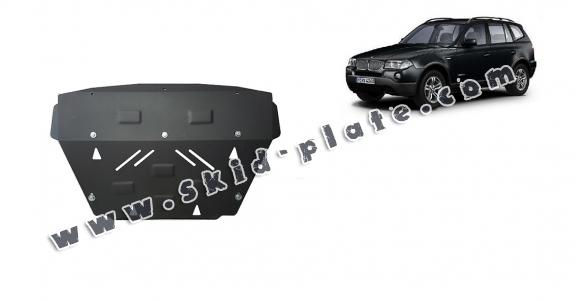 Steel radiator skid plate for BMW X3