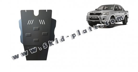 Steel gearbox and particle filter skid plate for Toyota Hilux