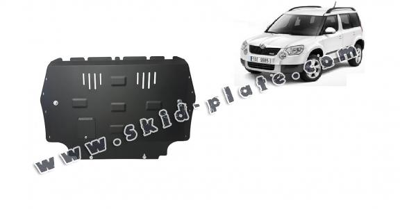 Steel skid plate for the protection of the engine and the gearbox for Skoda Yeti