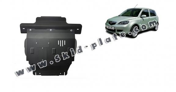 Steel skid plate for the protection of the engine and the gearbox for Mazda 2