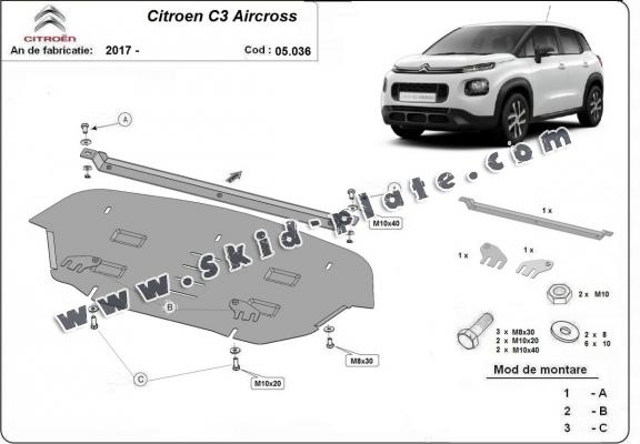 Steel skid plate for Citroen C3 Aircross