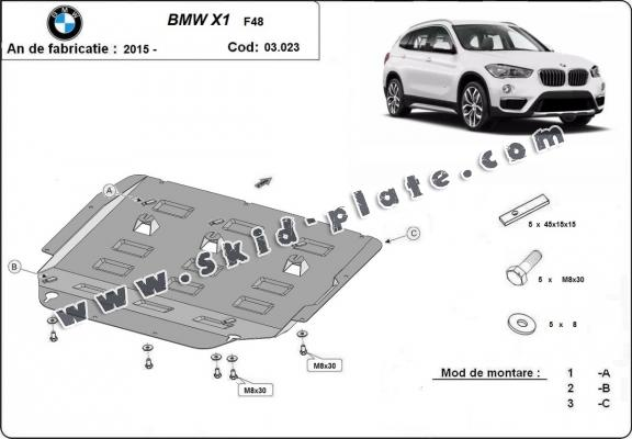 Steel skid plate for BMW X1 F48