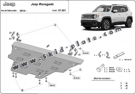 Steel skid plate for Jeep Renegade