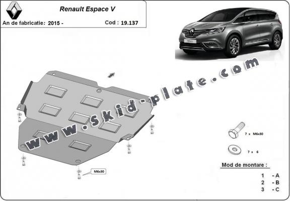 Steel skid plate for Renault Espace 5
