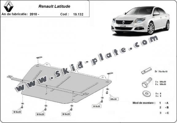 Steel skid plate for Renault Latitude
