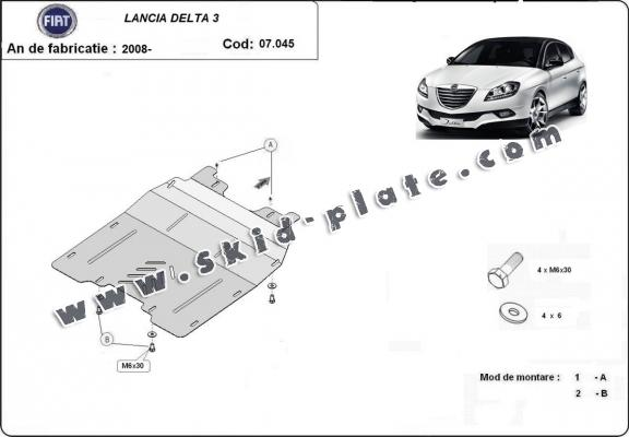 Steel skid plate for the protection of the engine and the gearbox for Lancia Delta 3