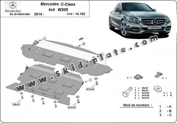 Steel skid plate for Mercedes C-Class W205 4x4
